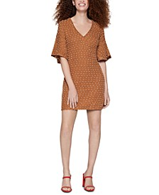 Dot-Pattern Shift Dress