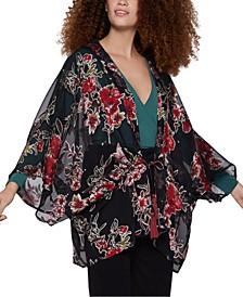 Burnout Blooms Tie-Waist Kimono Top