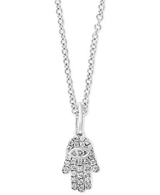 "EFFY® Diamond Pavé Hamsa Hand 18"" Pendant Necklace (1/10 ct. t.w.) in Sterling Silver"
