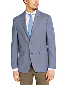 Men's Slim-Fit Stretch Navy & White Tic Sport Coat, Created for Macy's