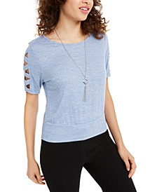Juniors' Sleeve-Cutout Necklace Top