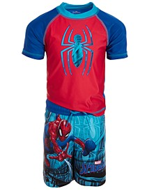 Little Boys 2-Pc. Spiderman Rash Guard & Swim Trunks Set