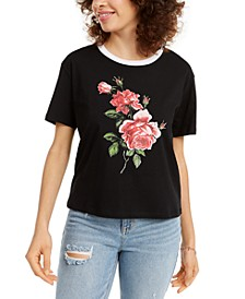 Juniors' Cotton Rose Graphic T-Shirt