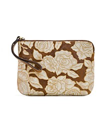 Natural Embroidery Cassini Leather Wristlet
