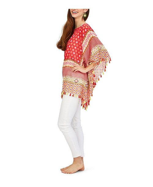 Two's Company Jaclyn Pixel Pattern Poncho with Hand Stitched Embroidery and Tassels