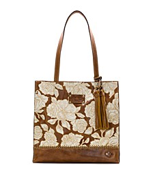 Natural Embroidery Toscano Leather Tote