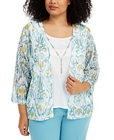 Plus Size Chesapeake Bay Printed Layered-Look Necklace Top
