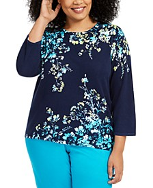 Plus Size Easy Street Printed 3/4-Sleeve Sweater