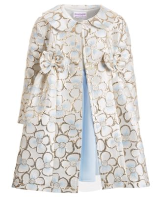 Little Girls 2-Pc. Floral Brocade Coat & Dress Set