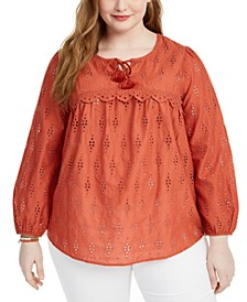 Plus Size Eyelet Blouse, Created For Macy's