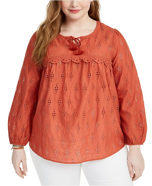 Style & Co Plus Size Eyelet Blouse, Created for Macy's