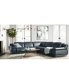 "Daisley 6-Pc. Leather ""L"" Shaped Sectional Sofa with 2 Power Recliners"