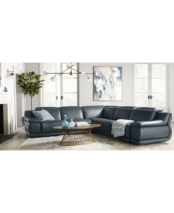 """Furniture - Daisley 6-Pc. Leather """"L"""" Shaped Sectional Sofa with 2 Power Recliners"""