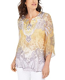 Embellished Split-Neck Top, Created For Macy's