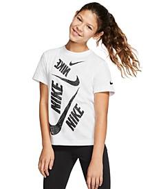 Big Girls Cotton Scribbled Swoosh T-Shirt