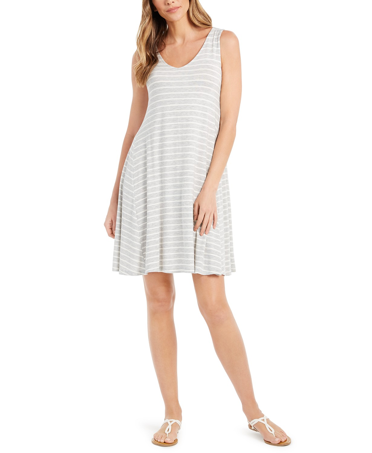 Style & Co Striped Crossback Flared Dress, Created for Macy's