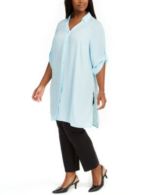 NEW Alfani Women/'s Plus Size Printed High-Low Tunic Blouse White Sizes 16W 18W