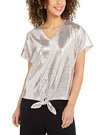 Allover-Sequin Tie-Front Top