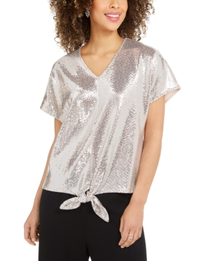 Msk Allover-Sequin Tie-Front Top