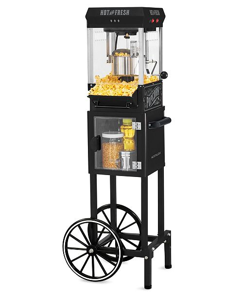 Nostalgia KPM220CTBK 2.5-Oz. Popcorn Cart with 5-Qt. Popcorn Bowl