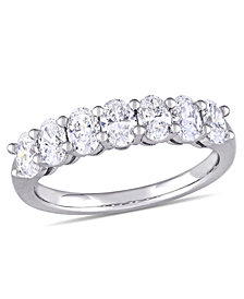 Oval Cut Certified Diamond (1 1/3 ct. t.w.) Semi-Eternity Anniversary Ring in 14k White Gold