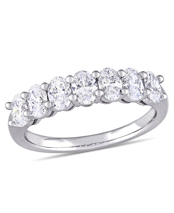 Macy's Oval Cut Certified Diamond (1 1/3 ct. t.w.) Semi-Eternity Anniversary Ring in 14k White Gold