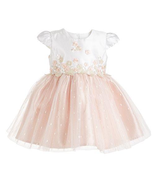 Bonnie Baby Baby Girls Ivory & Blush Embroidered Mesh Dress