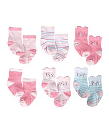 Baby Girls 6-Pack Wiggle Proof Socks