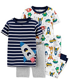 Baby Boys 4-Pc. Rocket Ship Cotton Pajamas Set
