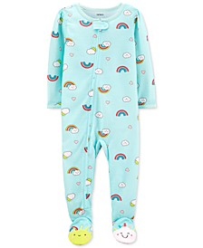 Baby Girls 1-Pc. Rainbow-Print Footed Pajamas