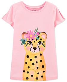Little & Big Girls Floral Leopard-Print Split-Sleeve Cotton T-Shirt