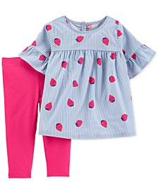Toddler Girls 2-Pc. Striped Strawberry Top & Leggings Set