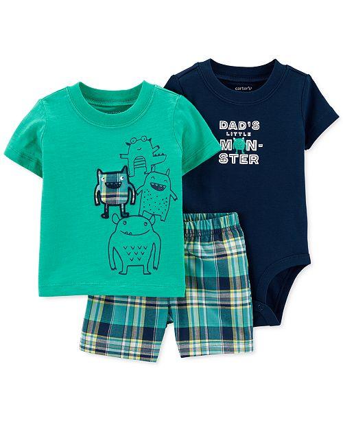 Carter's Baby Boys 3-Pc. Cotton Little Monster T-Shirt, Bodysuit & Shorts Set