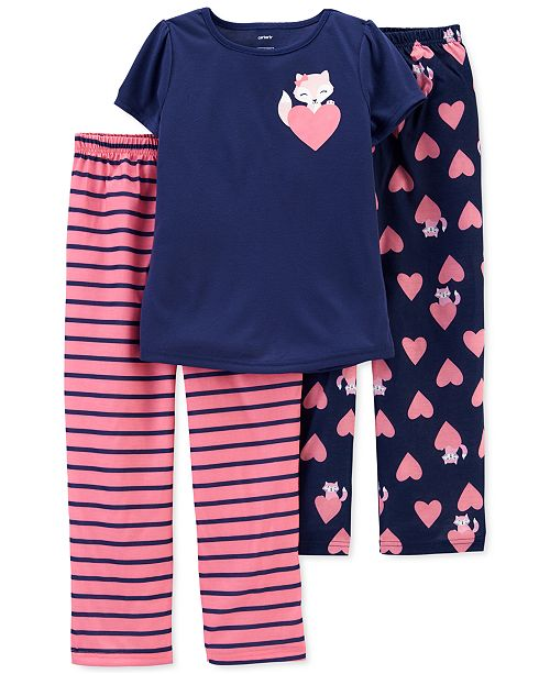 Carter's Little & Big Girls 3-Pc. Fox Pajamas Set