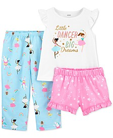 Toddler Girls 3-Pc. Ballerina Pajamas Set