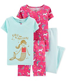 Little & Big Girls 4-Pc. Mermaid Cotton Pajamas Set