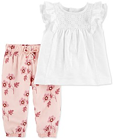 Baby Girls 2-Pc. Ruffle Eyelet Top & Floral-Print Pants Set