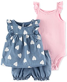 Baby Girls 3-Pc. Cotton Chambray Top, Shorts & Ribbed Bodysuit Set