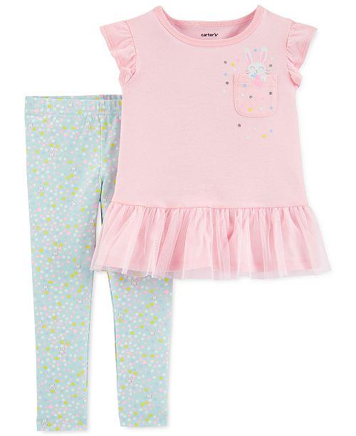 Carter's Baby Girls 2-Pc. Bunny Peplum Top & Dot-Print Leggings Set