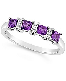 Amethyst (1/2 ct. t.w.) and Diamond Accent Ring in Sterling Silver