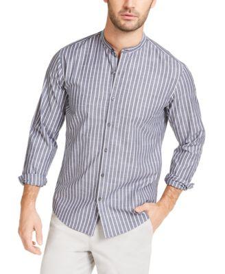Men's Slim-Fit Stripe Band-Collar Shirt