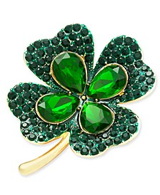 Gold-Tone Crystal Four-Leaf Clover Pin, Created for Macy's