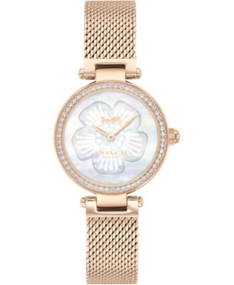 코치 여성 손목 시계 COACH Womens Park Carnation Rose Gold-Tone Stainless Steel Mesh Bracelet Watch 26mm,Mother Of Pearl