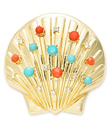 Gold-Tone Pavé & Multicolor Bead Seashell Pin, Created for Macy's