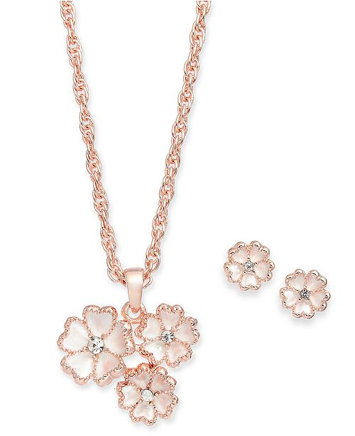 Charter Club Rose Gold-Tone Pavé Flower Pendant Necklace & Stud Earrings Set, Created For Macy's