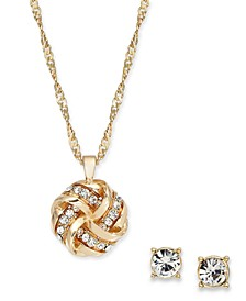 Gold-Tone Crystal Love Knot Pendant Necklace & Stud Earrings Set, Created for Macy's
