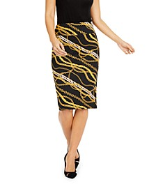 Zipper Printed Scuba Skirt, Created for Macy's