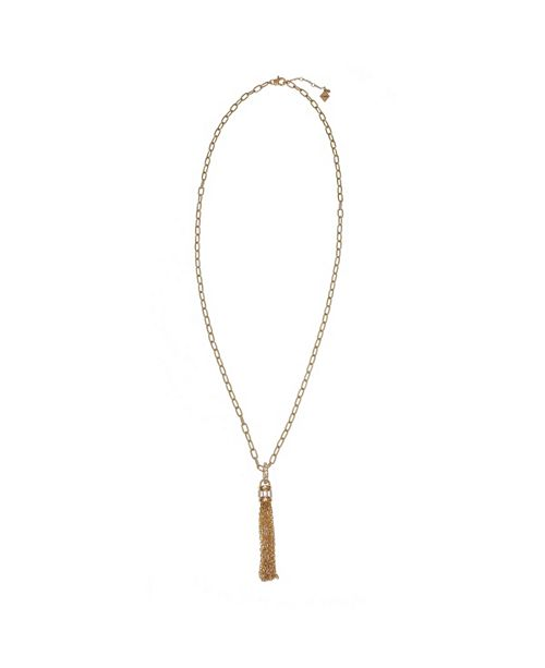 Christian Siriano New York Gold Tone Chunky Chain Tassel Necklace with Crystal Stone Accents