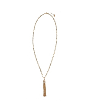 Gold Tone Chunky Chain Tassel Necklace with Crystal Stone Accents