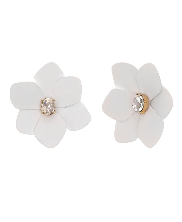 Christian Siriano New York - Gold Tone and White Flower Button Clip Earrings